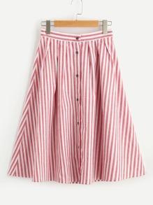 Модная юбка в полоску на кнопках