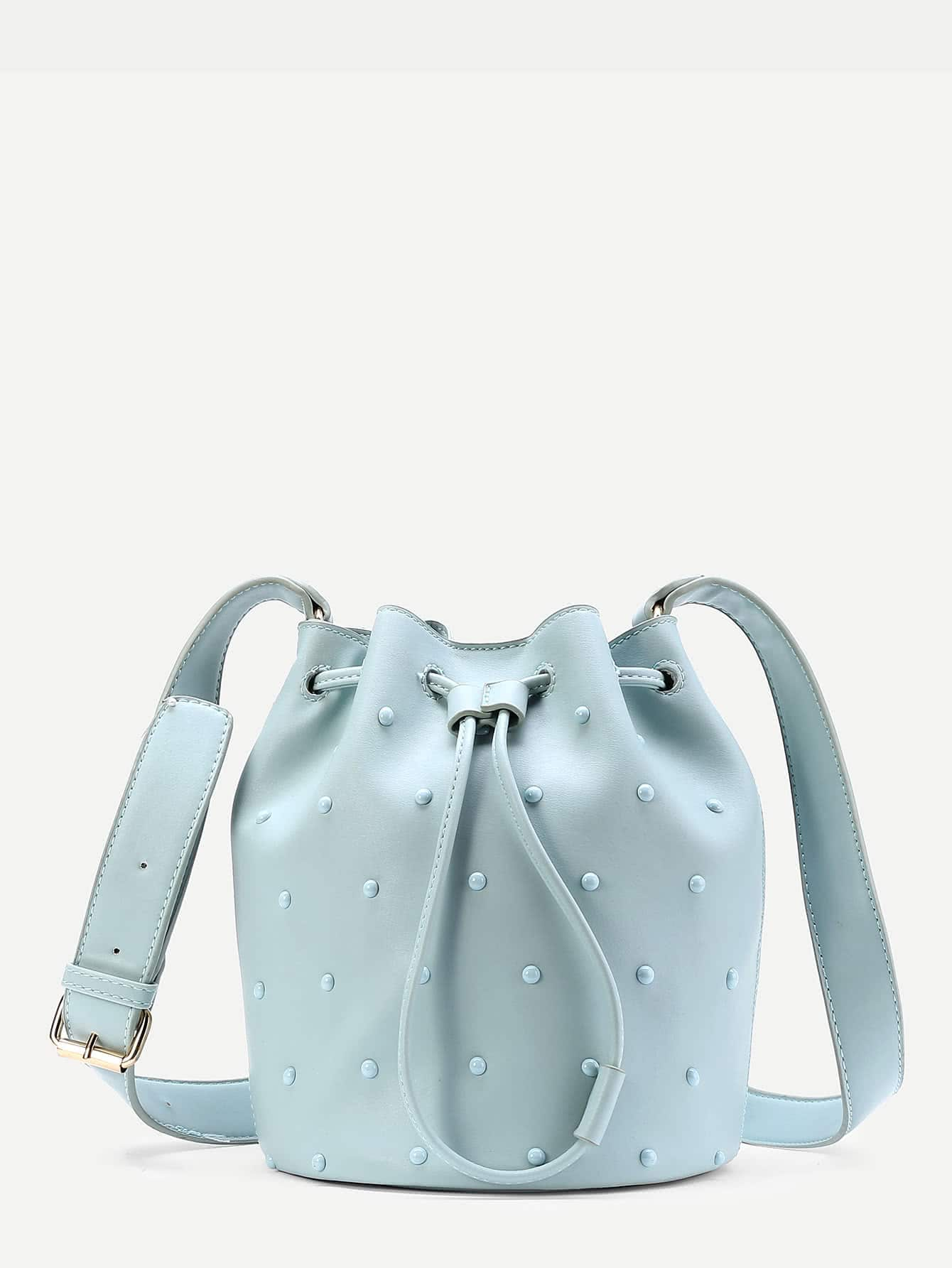 Gemstone Decorated PU Drawstring Bucket Bag