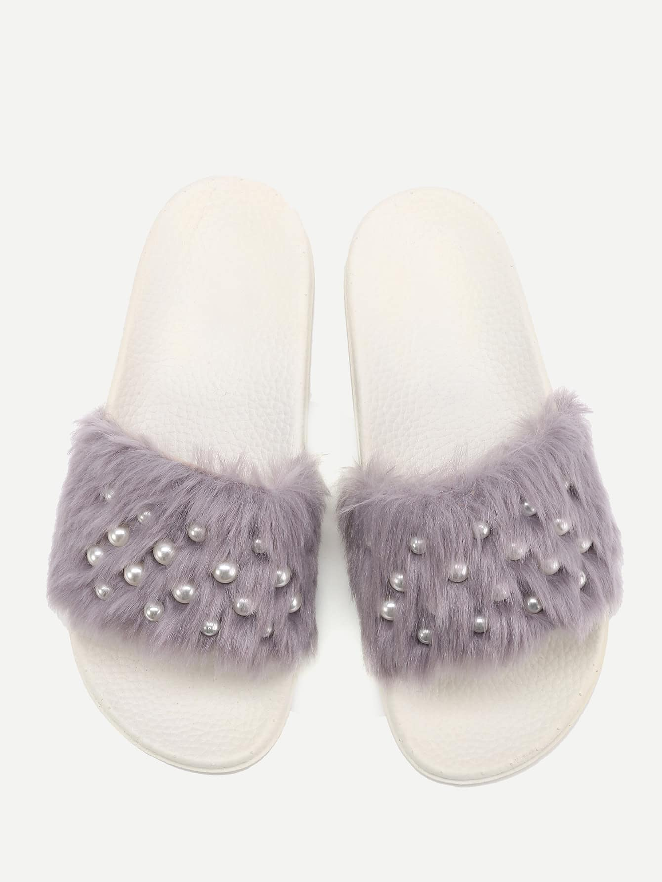 Фото Faux Fur Flat Slippers With Faux Pearl faux pearl