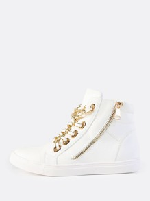 Lace Up Chain Link High Top Sneakers WHITE