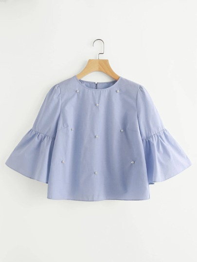 Bell Sleeve Blouse With Faux Pearl Detail