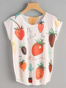 Fruits Print Cap Sleeve Tee