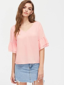 V Notch Tie Back Layered Bell Sleeve Top