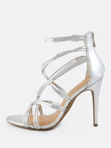 Super Cross Strap Patent Heels SILVER