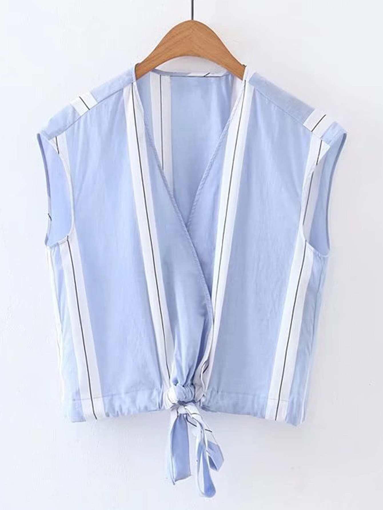Фото Contrast Striped Knot Front Sleeveless Blouse. Купить с доставкой