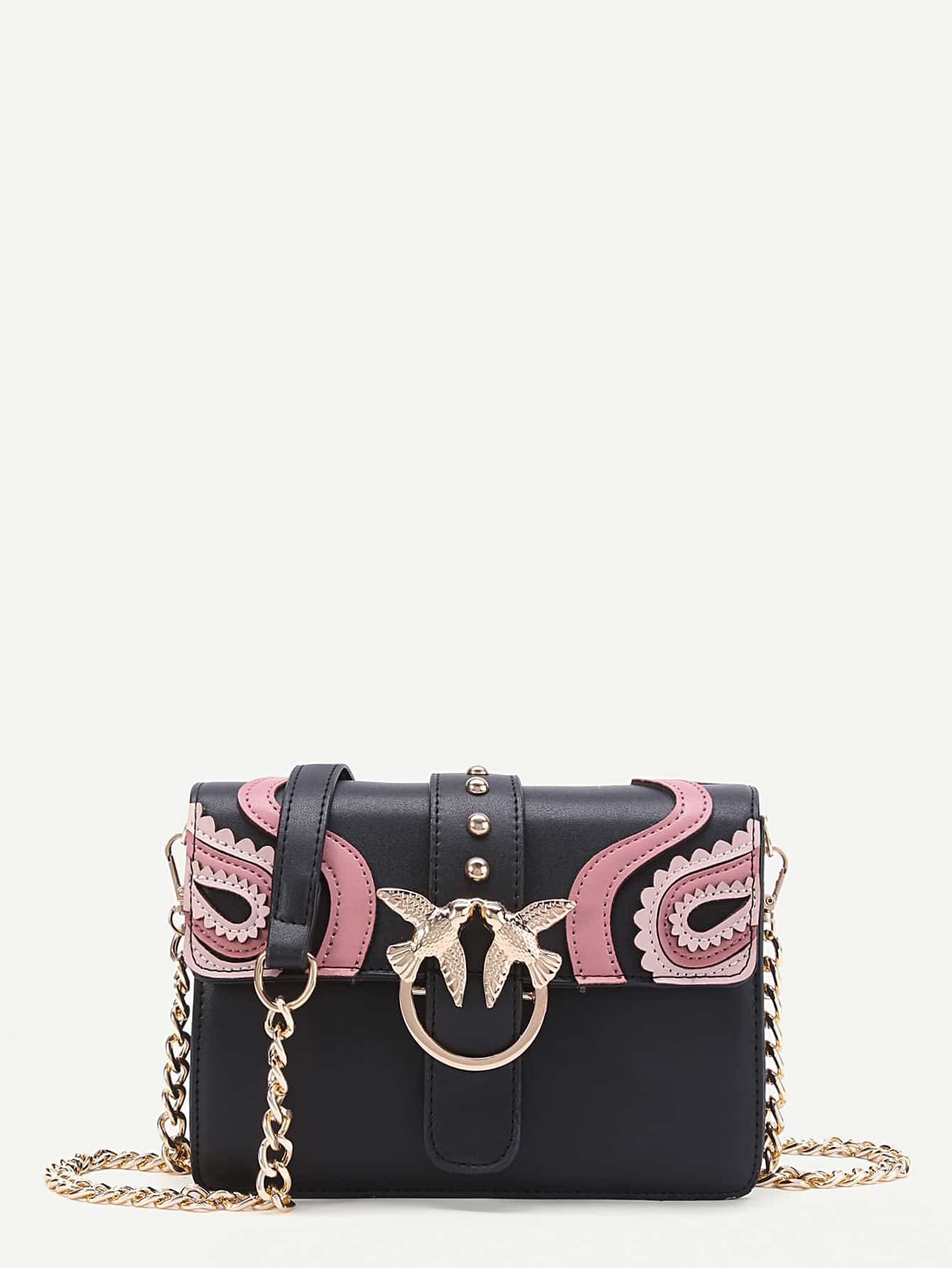 Double Bird Buckle Scalloped Detail Crossbody Bag