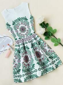 Ornate Print Embossed Fit & Flare Dress