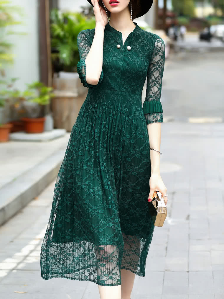 Фото V Neck Sheer Pleated Lace Dress. Купить с доставкой
