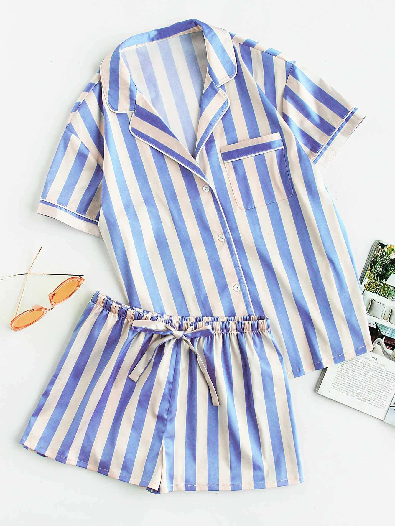 Фото Piping Detail Pocket Front Shirt And Shorts Pajama Set. Купить с доставкой