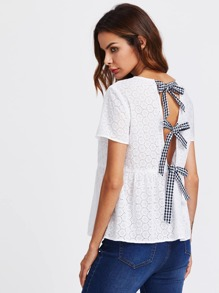 Checkered Bow Bow Eyelet Embroidered Smock Top