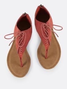 Thong Lace Up Sandals DARK MAUVE