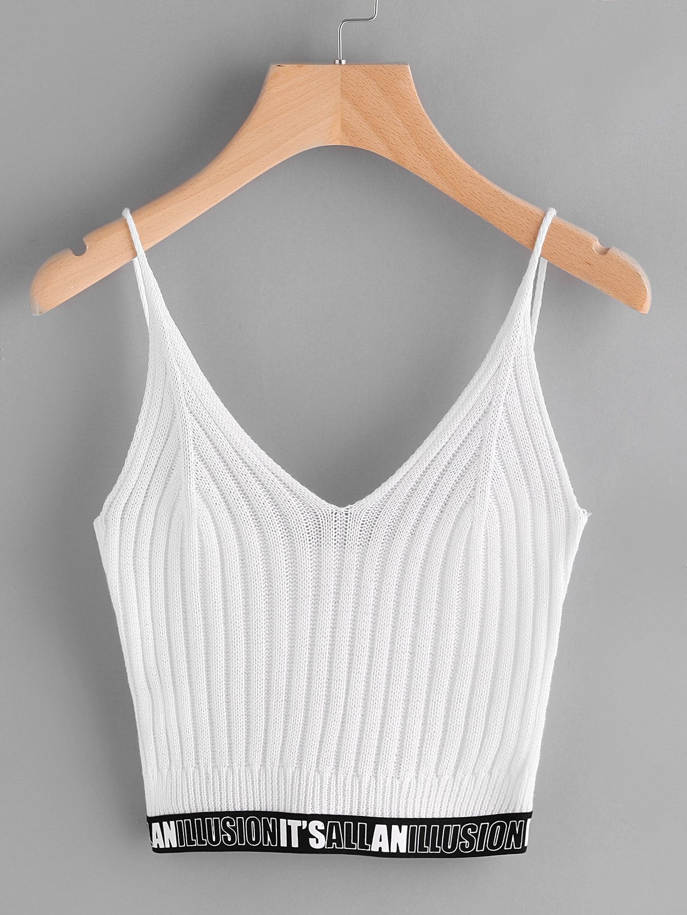 Letter Tape Detailed Knit Cami Top