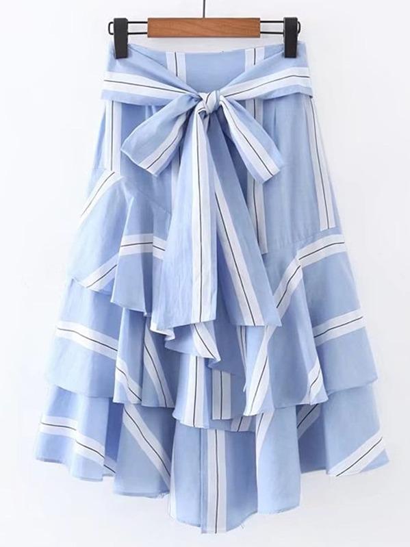 Bow Tie Waist Layered Ruffle Skirt, null