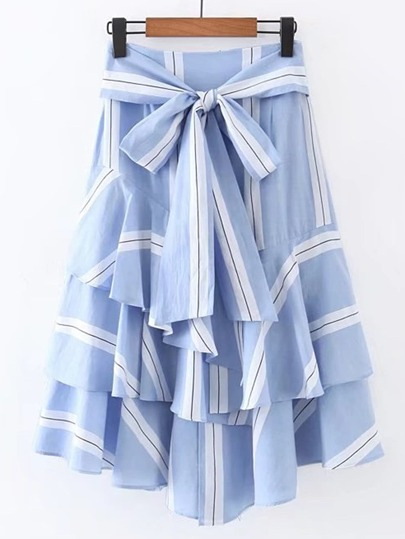 Bow Tie Waist Layered Ruffle Skirt