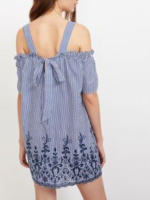 Thick Strap Tie Back Eyelet Embroidered Striped Dress