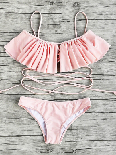 Flounce Detail Strappy Bikini Set