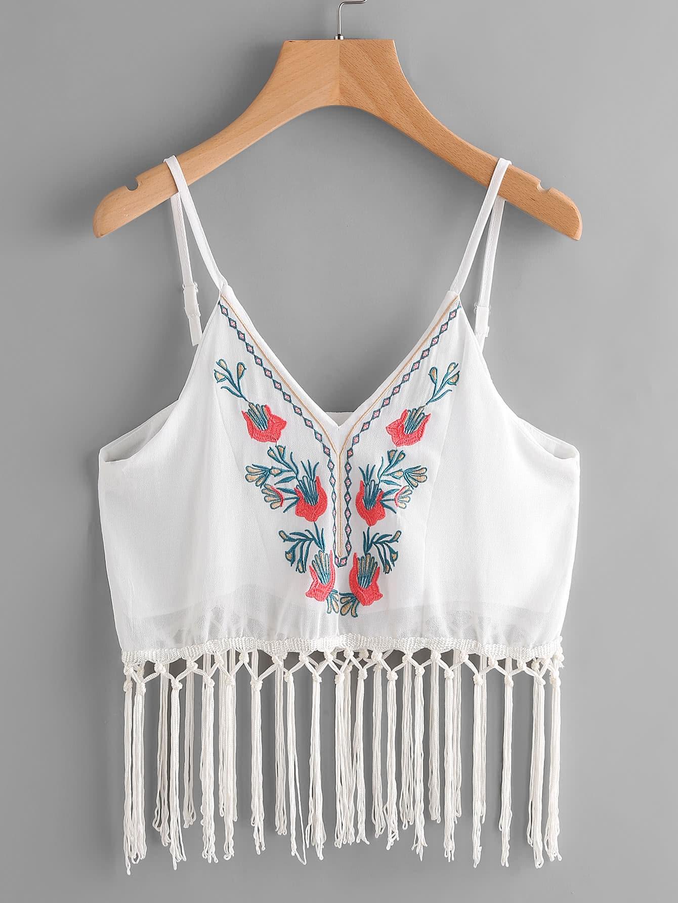 Фото Embroidery Fringe Trim Chiffon Cami Top. Купить с доставкой