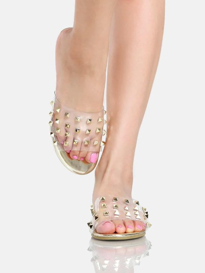Clear Metallic Stud Slip On Sandals GOLD