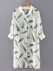Feather Print Single Breasted Chiffon Dress