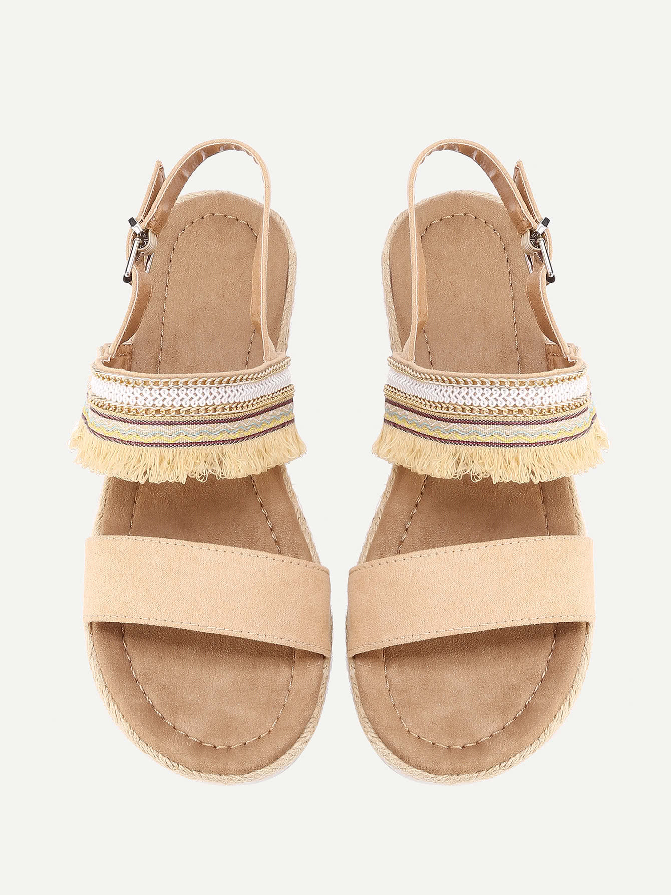 Фото Fringe Detail Flat Sandals. Купить с доставкой