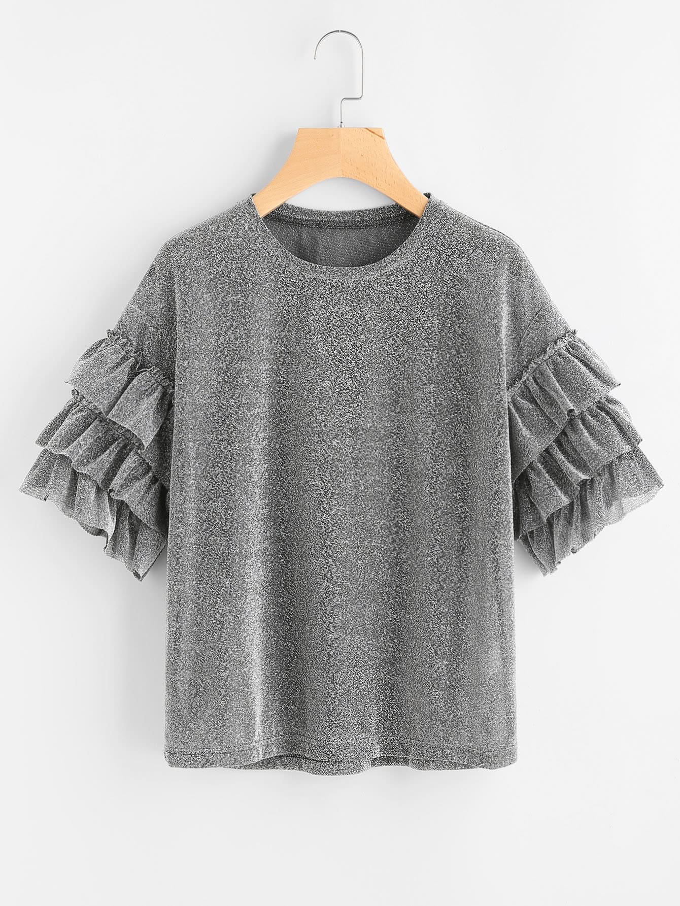 Drop Shoulder Layered Ruffle Sleeve Sparkle Tee pearl detail layered frill sleeve top