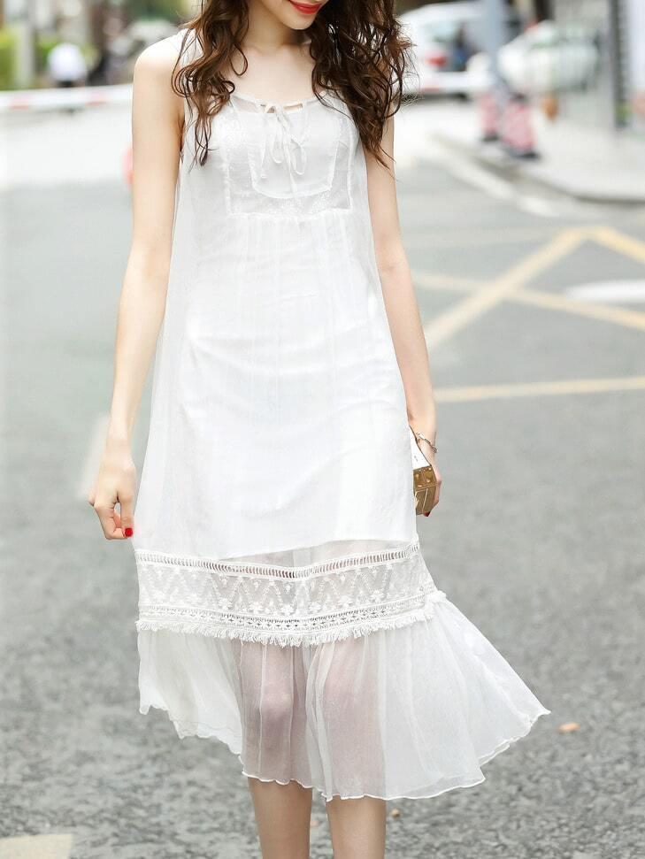 Фото Tie Neck Mesh Fringe Dress. Купить с доставкой