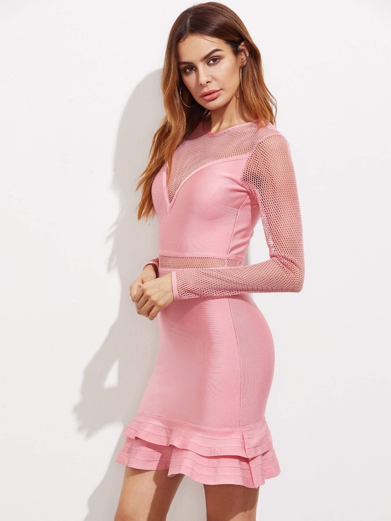 Fishnet Insert Layered Ruffle Hem Dress dress170508406