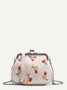 Cherry Embroidery Kiss Lock Crossbody Bag