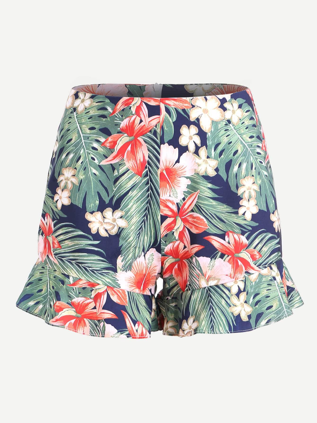 Фото Palm Leaf Print Frill Hem Zipper Back Shorts. Купить с доставкой