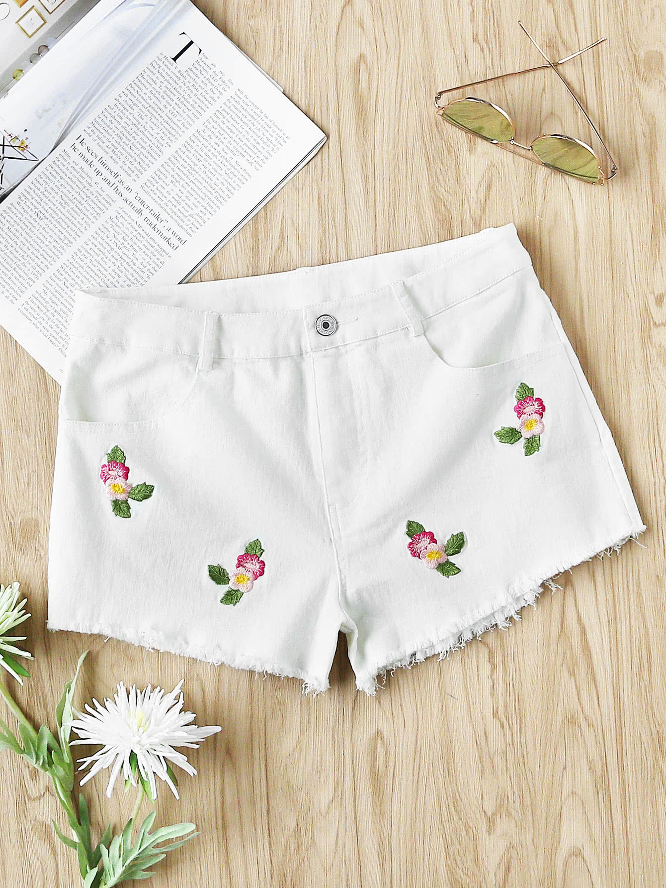 Flower Embroidered Raw Hem Shorts embroidered flower patch raw hem hoodie