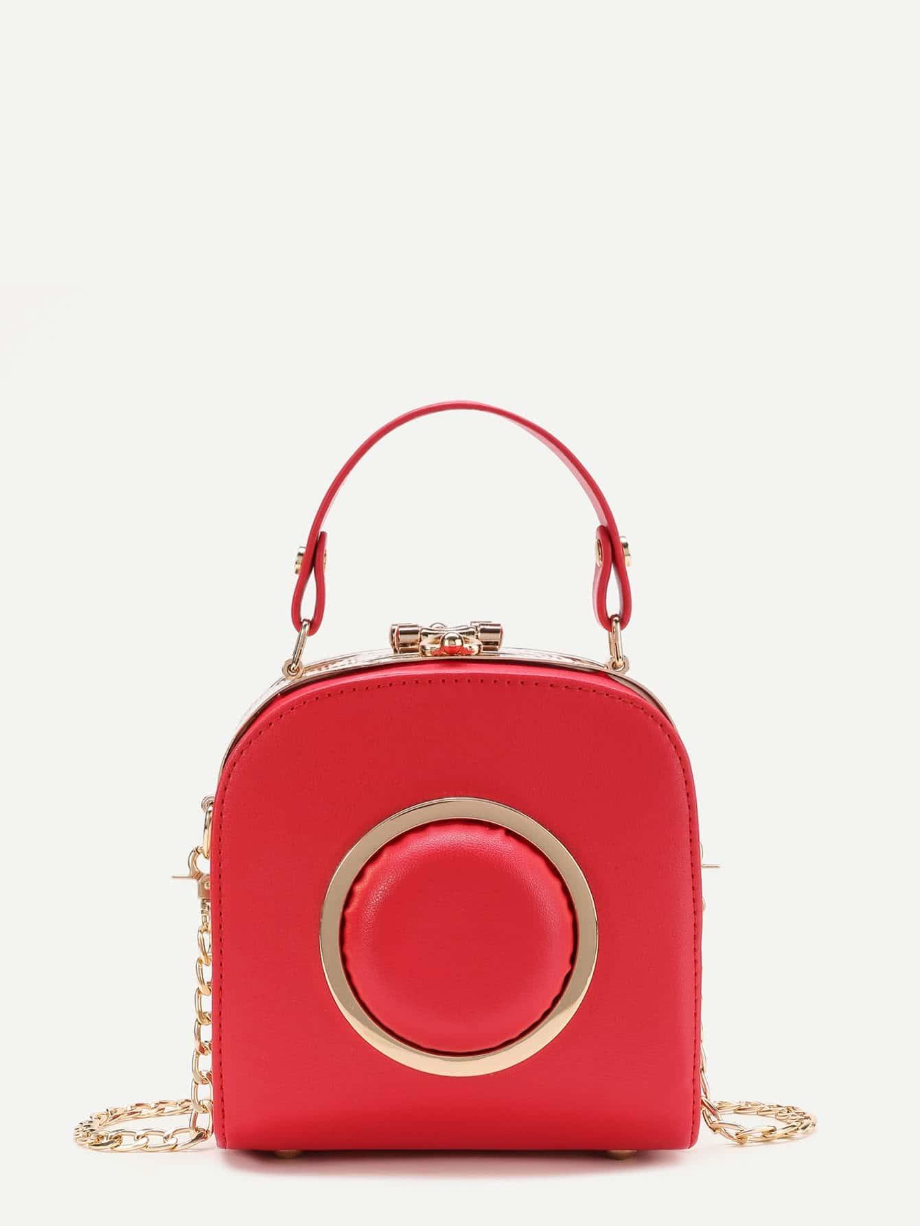 Фото Metal Ring Embellished PU Grap Bag. Купить с доставкой