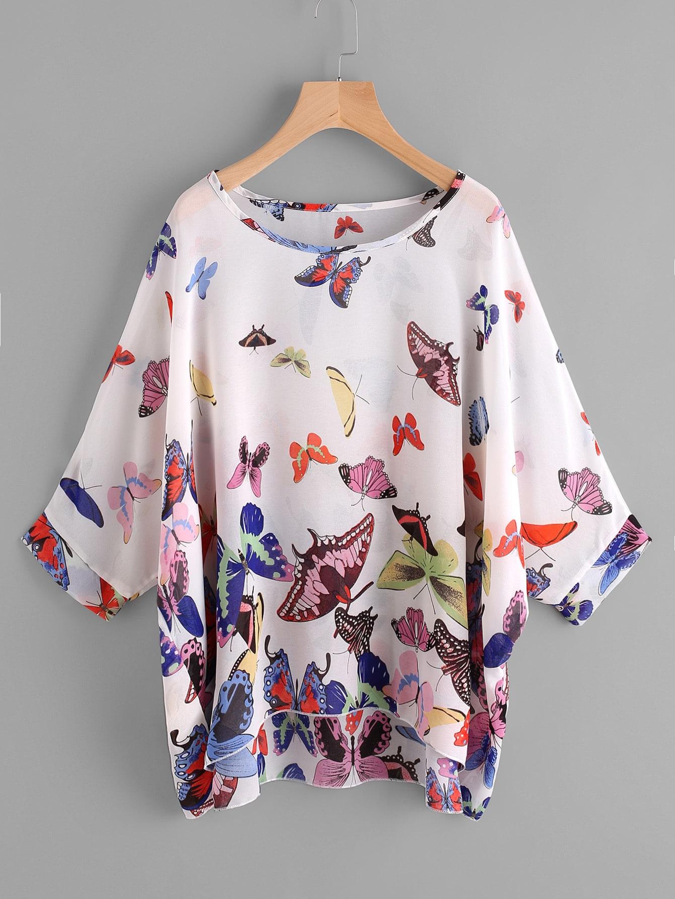 Dolman Sleeve Butterfly Print Dip Hem Chiffon Blouse