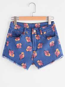Shorts imprimé lacéré en denim