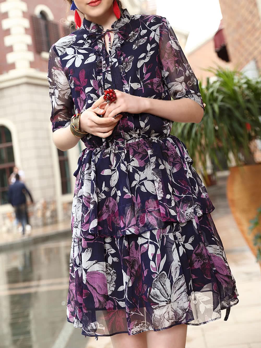 Фото Tie Neck Flowers Print Dress. Купить с доставкой