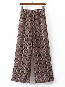 Elastic Waist Snake Print Wide Leg Pants
