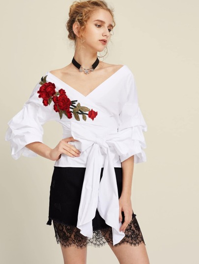 3D Flower Patch Ruched Sleeve Wrap Top