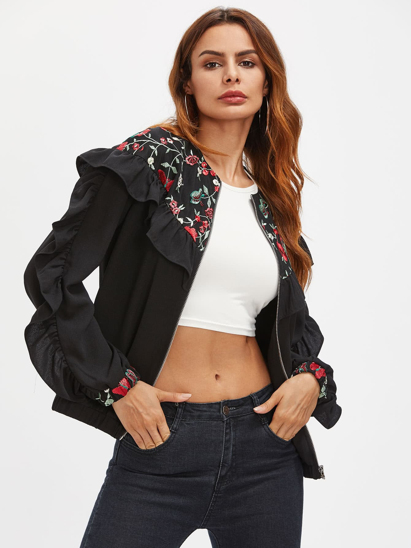 Frill Trim Embroidered Yoke And Cuff Bomber Jacket frill trim lace yoke top