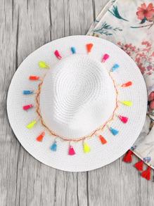 Sombrero fedora de paja con borlas