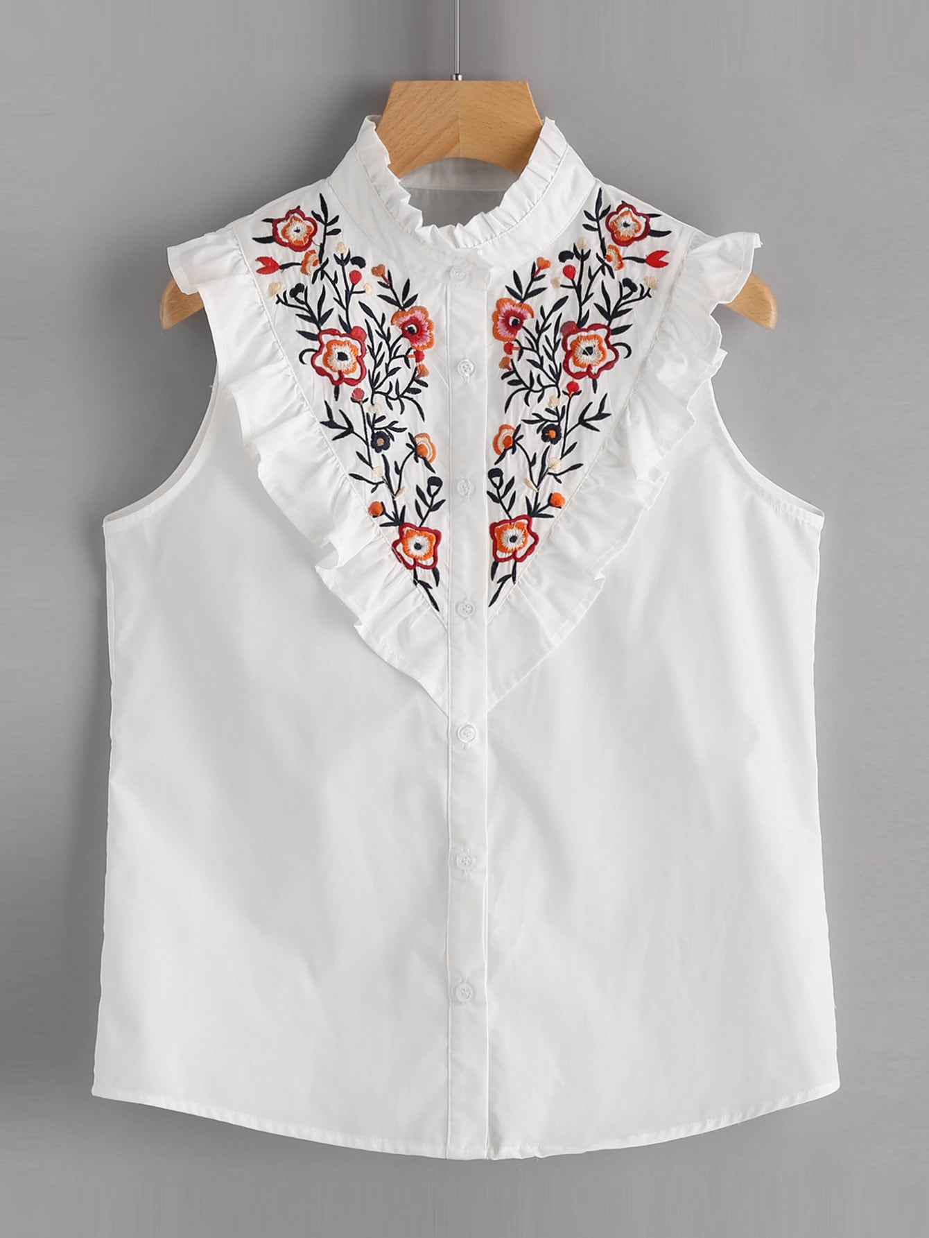 Фото Frill Trim Floral Embroidered Yoke Sleeveless Blouse. Купить с доставкой