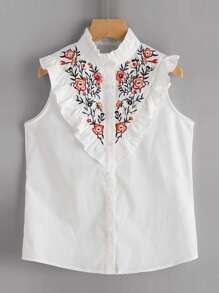 Frill Trim Floral Embroidered Yoke Sleeveless Blouse