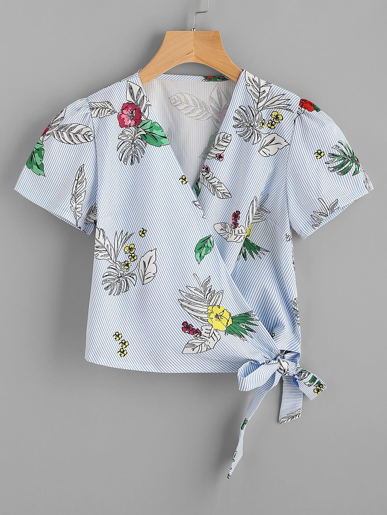 Tropical Print Pinstripe Tie Detail Top crisscross surplice neckline tie detail tropical print blouse
