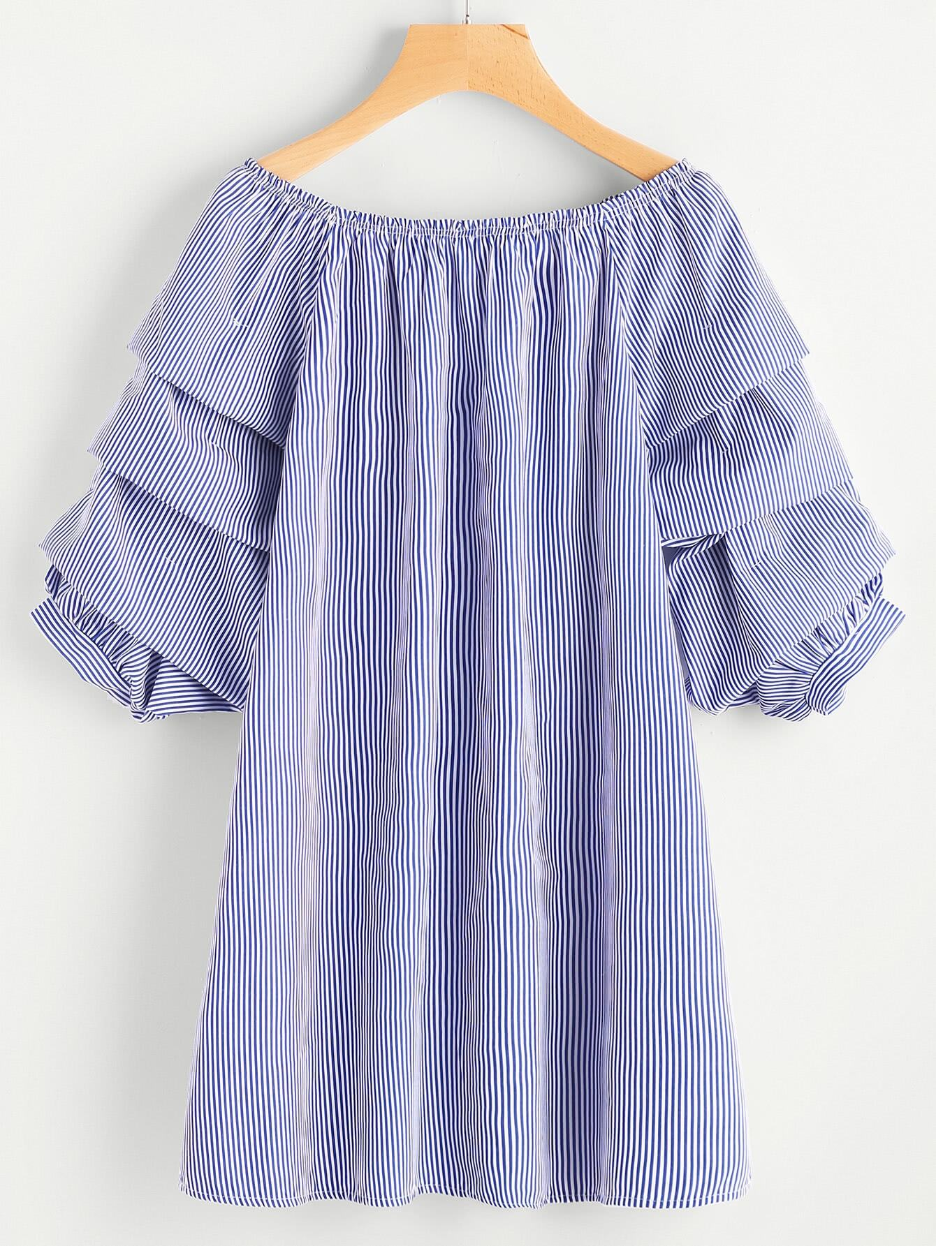Boat Neckline Ruched Sleeve Vertical Striped Dress boat neckline striped blouse with buttons