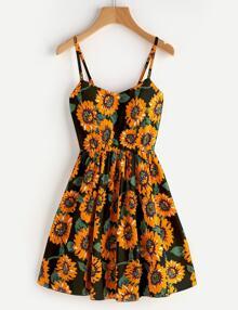 Sunflower Print Random Crisscross Back Cami Dress