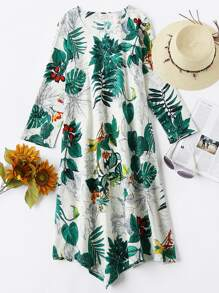 Tropical Print Pointed Hem Dress