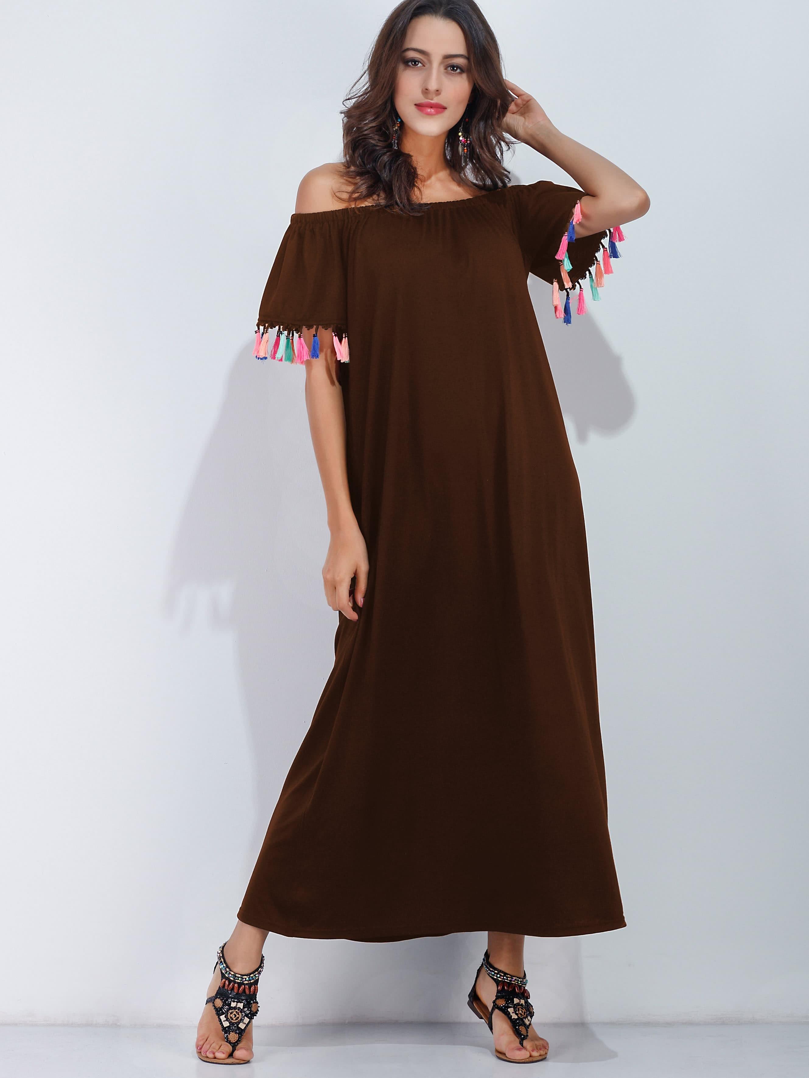 Off Shoulder Tassel Trim Dress dress170529135