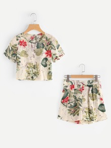 Tropical Print Keyhole Back Crop Top With Shorts