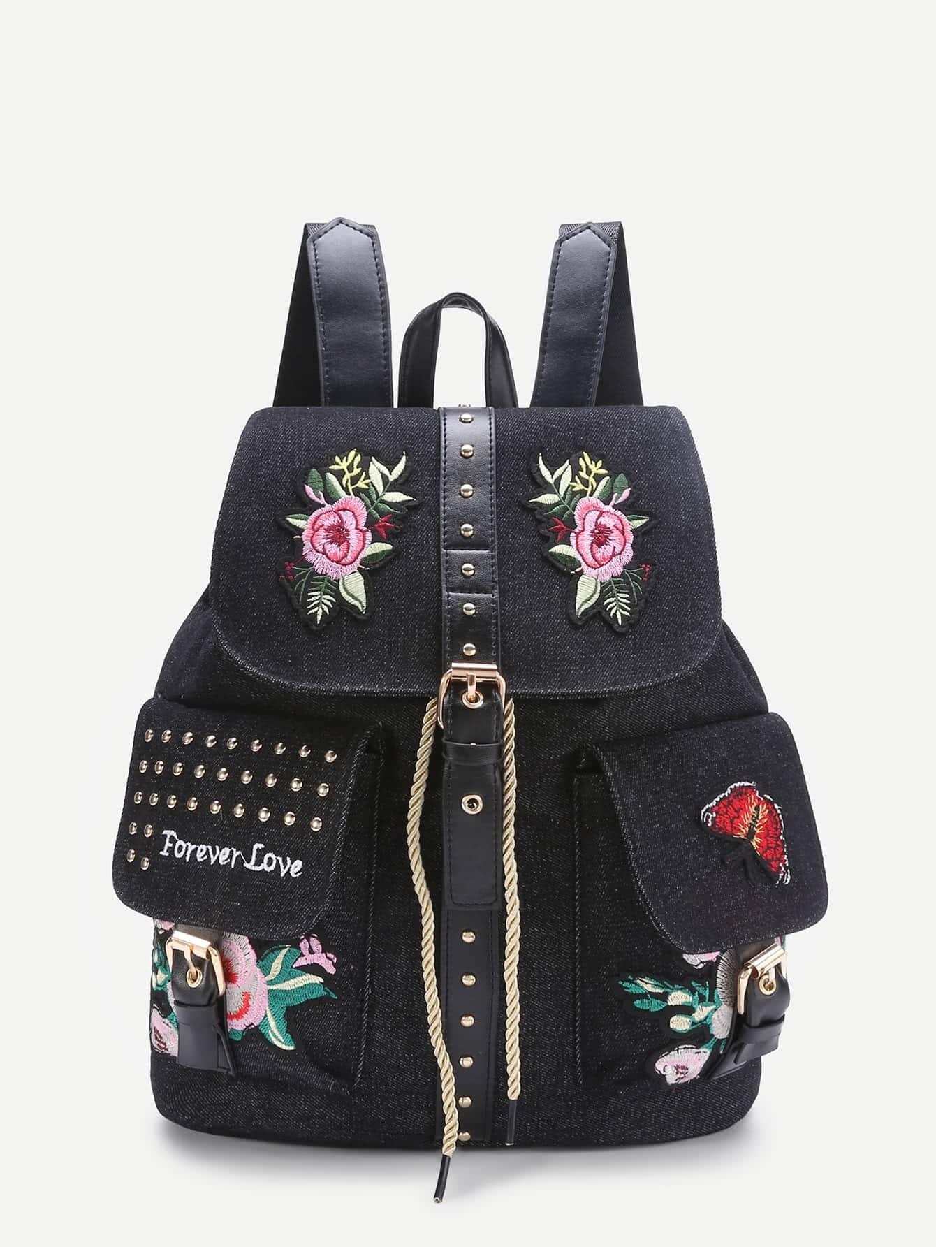 Фото Applique And Studded Embellished Denim Backpack. Купить с доставкой