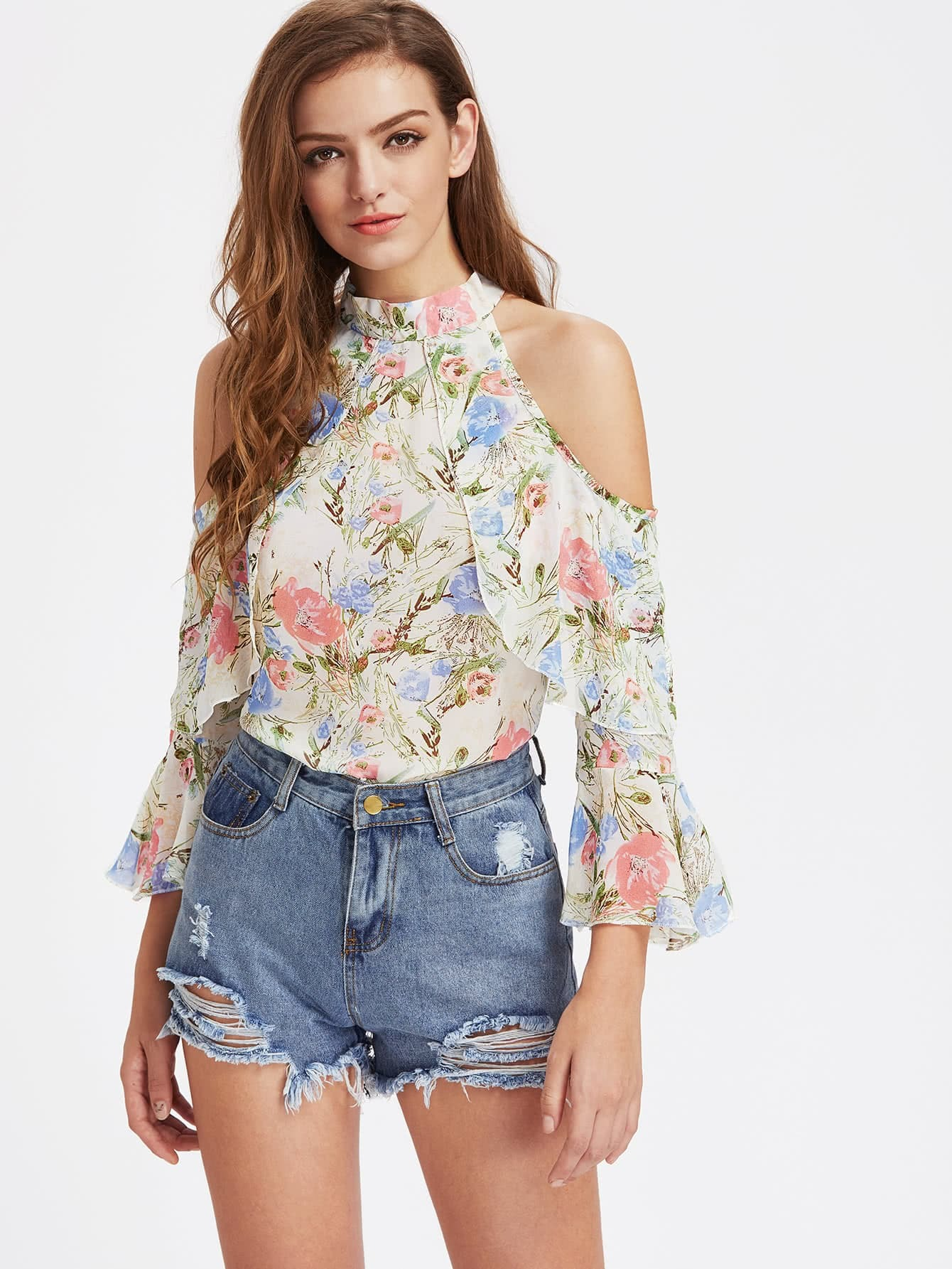 Allover Floral Open Shoulder Bell Sleeve Frill Layered Top