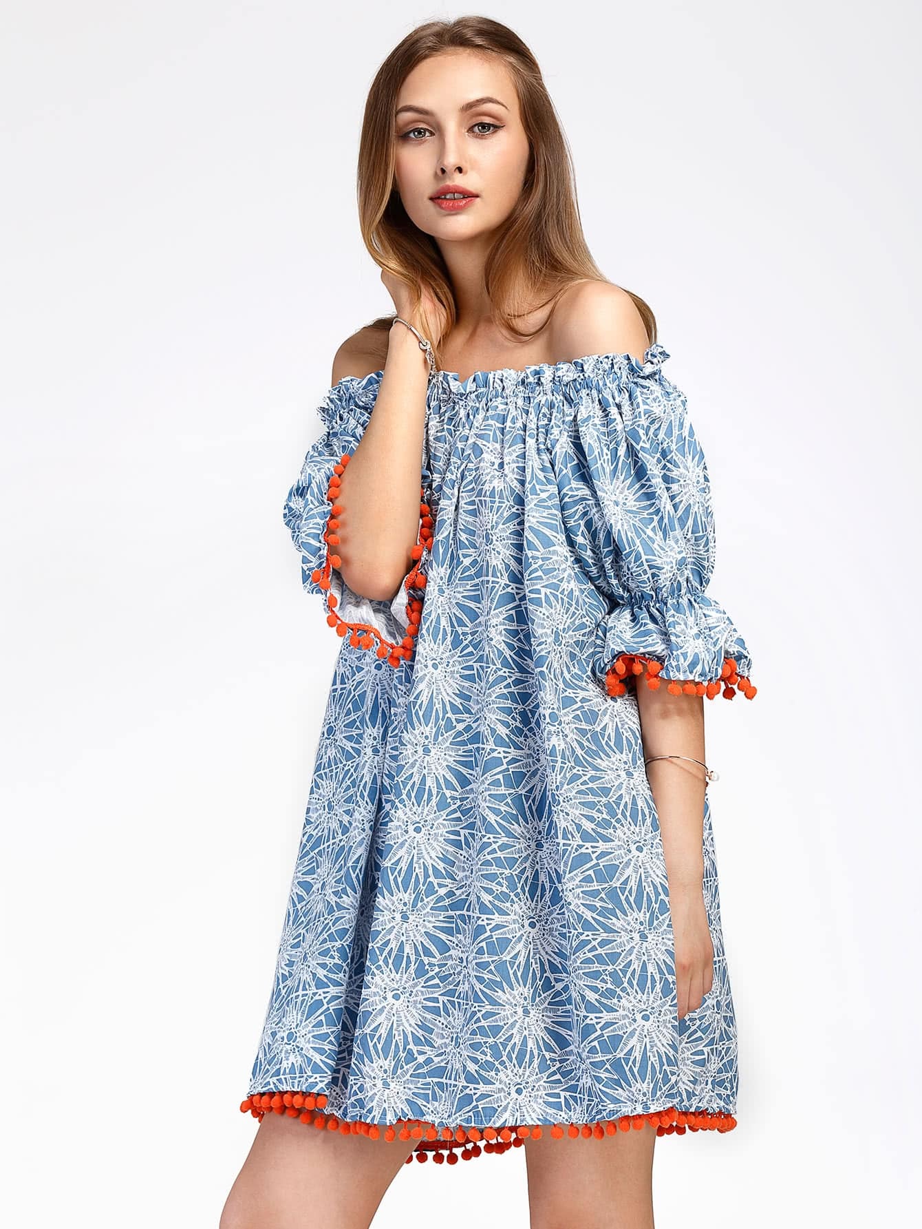 Bardot Floral Print Pom Pom Trim Dress pom pom ball applique rabbit print pullover