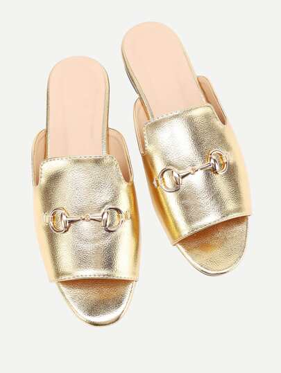 Metal Embellished PU Slippers